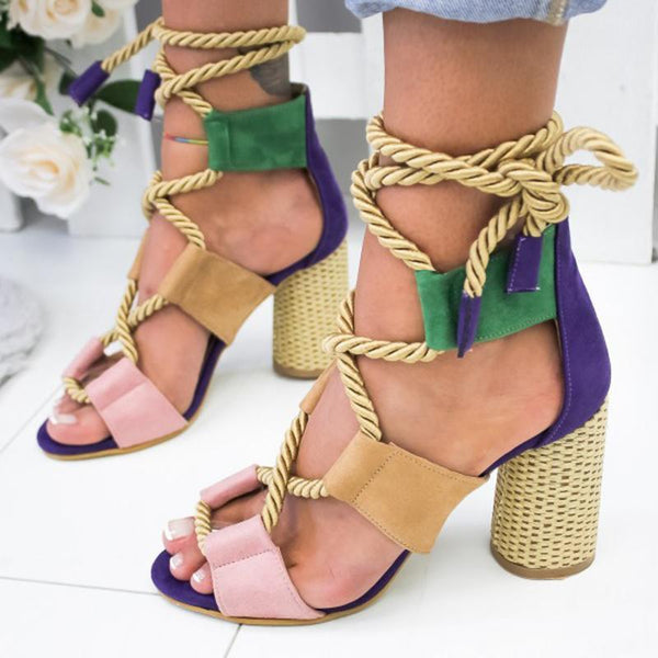 2019 summer fashion chunky high heel open toe lace-up sandals