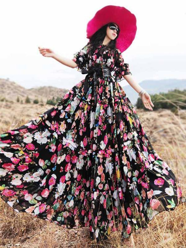 Pretty Bohemia Floral Half Sleeve Elastic Waist Round Neck Maxi Dress