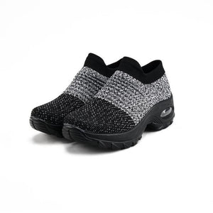 Women's Slip-on Air Cushioned Knitting Sports Soft Sock Shoes