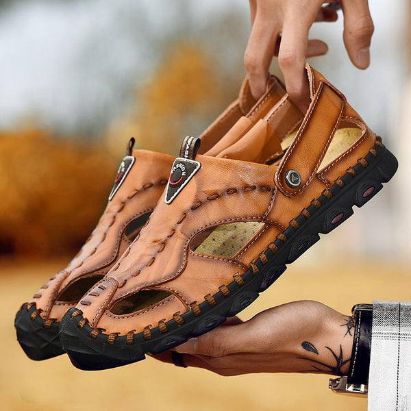 Men's Sandals The Tide Large Size Leather Slippers