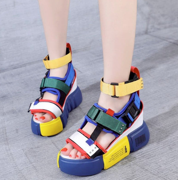 2019 new wedge high heel chunky sandals shoes summer female casual shoes ankle hook loop