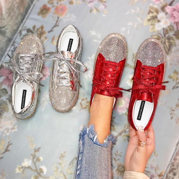 2019 women summer and autumn new diamond fashion casual flat shoes