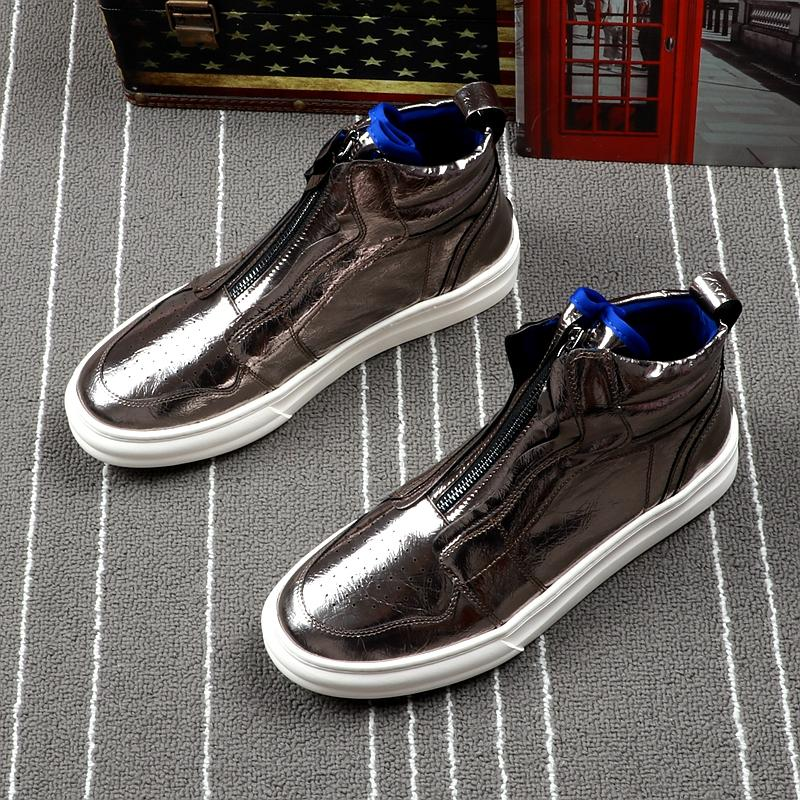 Leather high top shoes