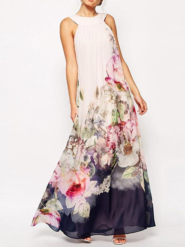Chiffon Floral Printed Halterneck Sleeveless Maxi Dress