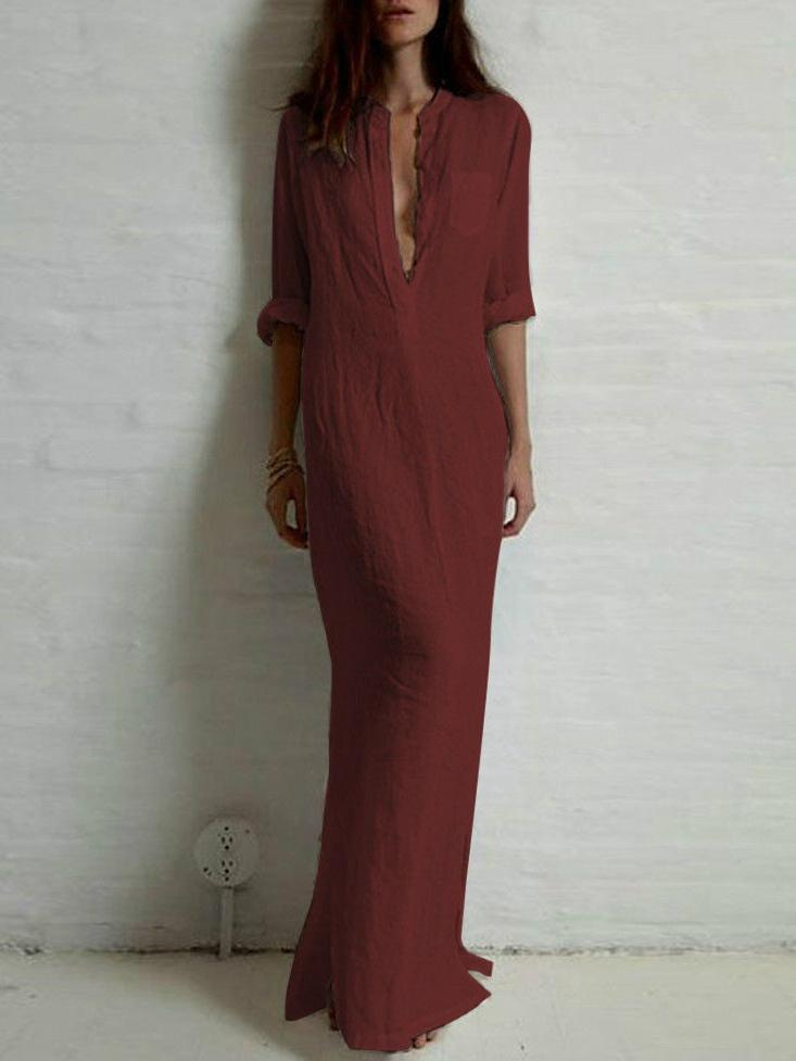 Solid Color Split-side Stand Collar Maxi Dress
