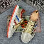 Womens Rhinestone Bling Shiny PU Leather Lace Up Fashion Sneakers Board Shoes Gold Sliver