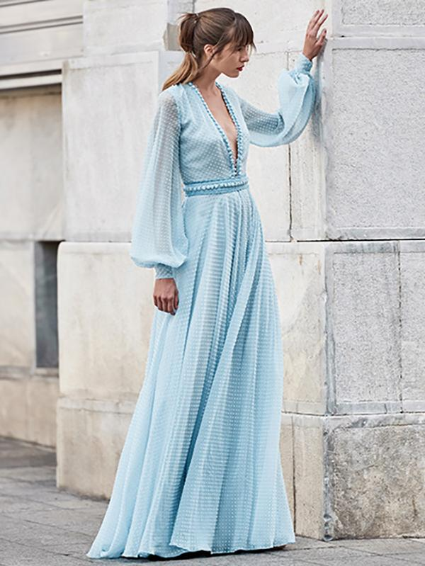 Puff Sleeves Deep V-neck Maxi Evening Dress