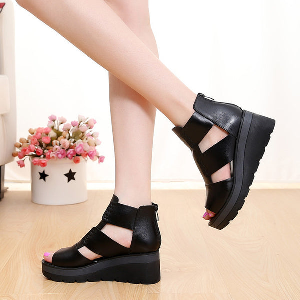 Thick-bottomed sponge cake hollow leather women's sandals