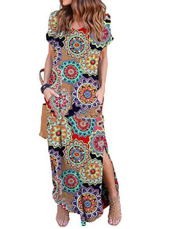 8 Colors Printed Midi Dresses with Side Slit