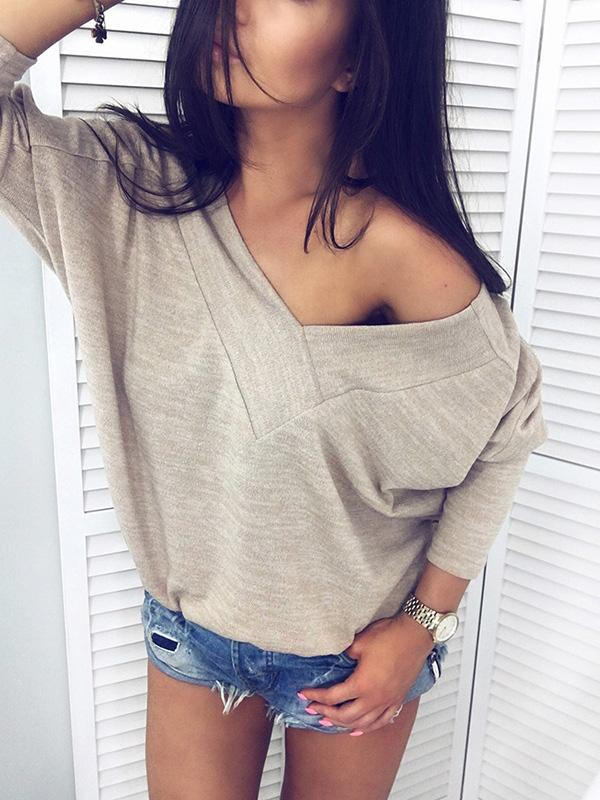 V-neck Batwing Sleeves Solid Loose Shirt Top
