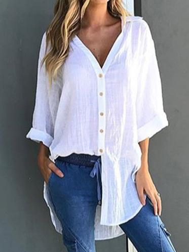 Solid Cropped Bandage V-neck Shirt Top