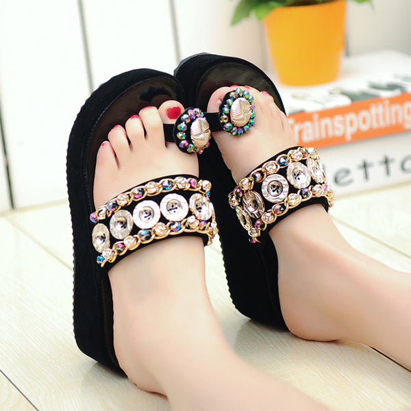 Female summer fashion set of toe thick bottom wedge with rhinestone women's shoes