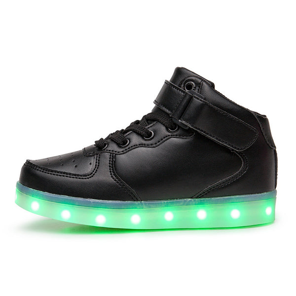 New LED light shoes high-top sneakers colorful usb rechargeable light shoes