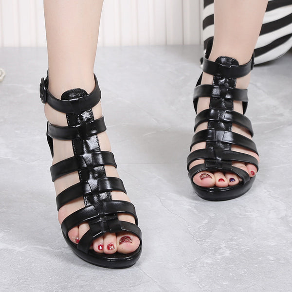 Bohemian sandals female wedge shoes Roman fish mouth sandals
