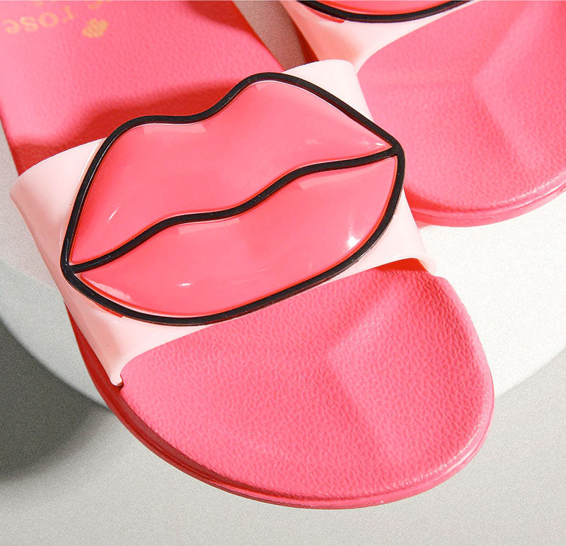 Fashion 2019 Summer Women Lovely Lips Beach Slippers Platform Thick Soled Sandals Women Shoes Flip Flops