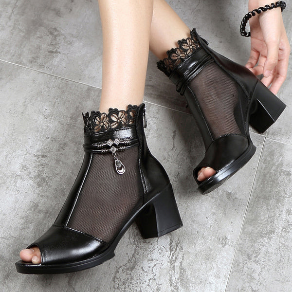 2019 leather fish mouth thick with sandals fashion mesh shoes