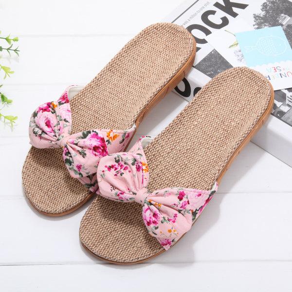 Home indoor and outdoor couple floral slippers