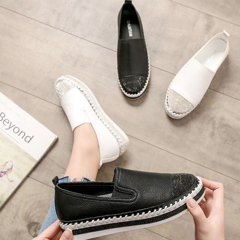Woman Genuine Leather Creepers Flats Ladies Loafers White