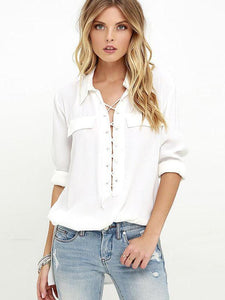 Fashion Long Sleeve Stand Neck Lace Up Blouse Tops