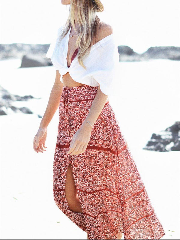 Bohemia Beach Printed Skirt Bottoms