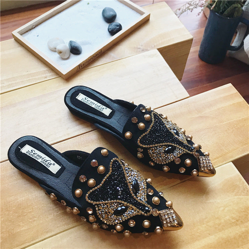 2019 spring new versatile flat bottom with rhinestones wearing slippers