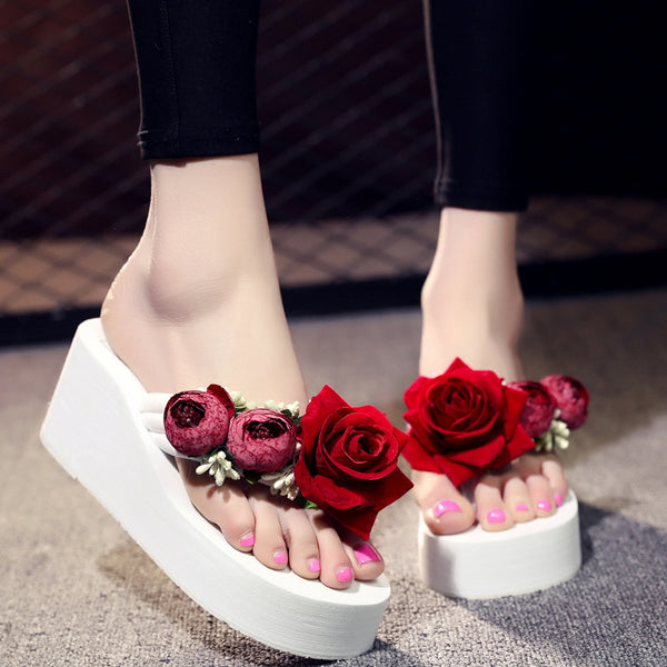 Cute outside wearing sweet platform skid flower holiday beach shoes