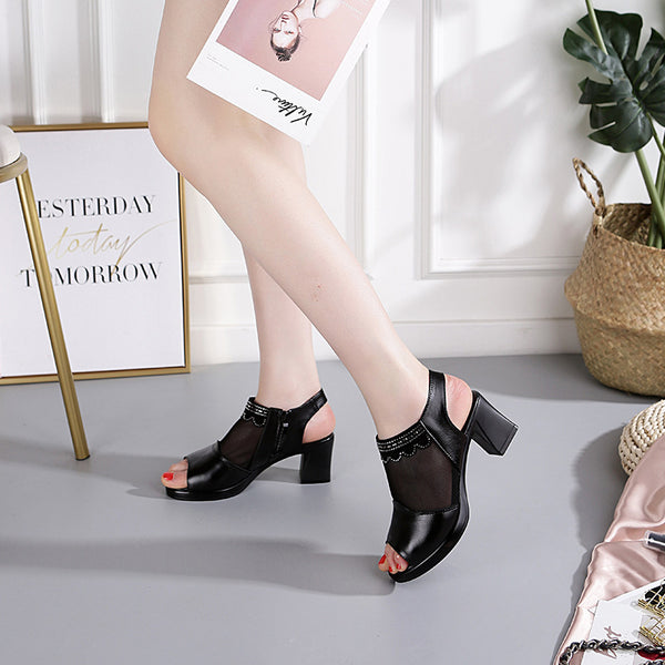 2019 spring new leather Roman with women's sandals thick with fish mouth shoes