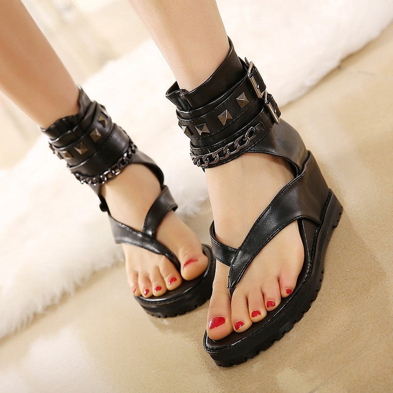 2019 new hollow high-necked toe heightening wedge sandals