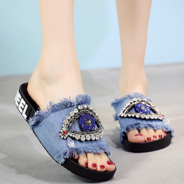 Rhinestone denim slippers tassel word drag female sandals