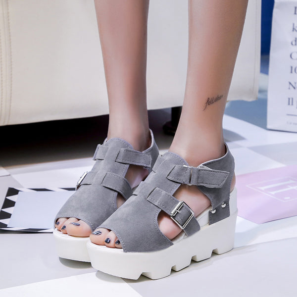 New fish mouth sandals waterproof platform muffin platform women's shoes
