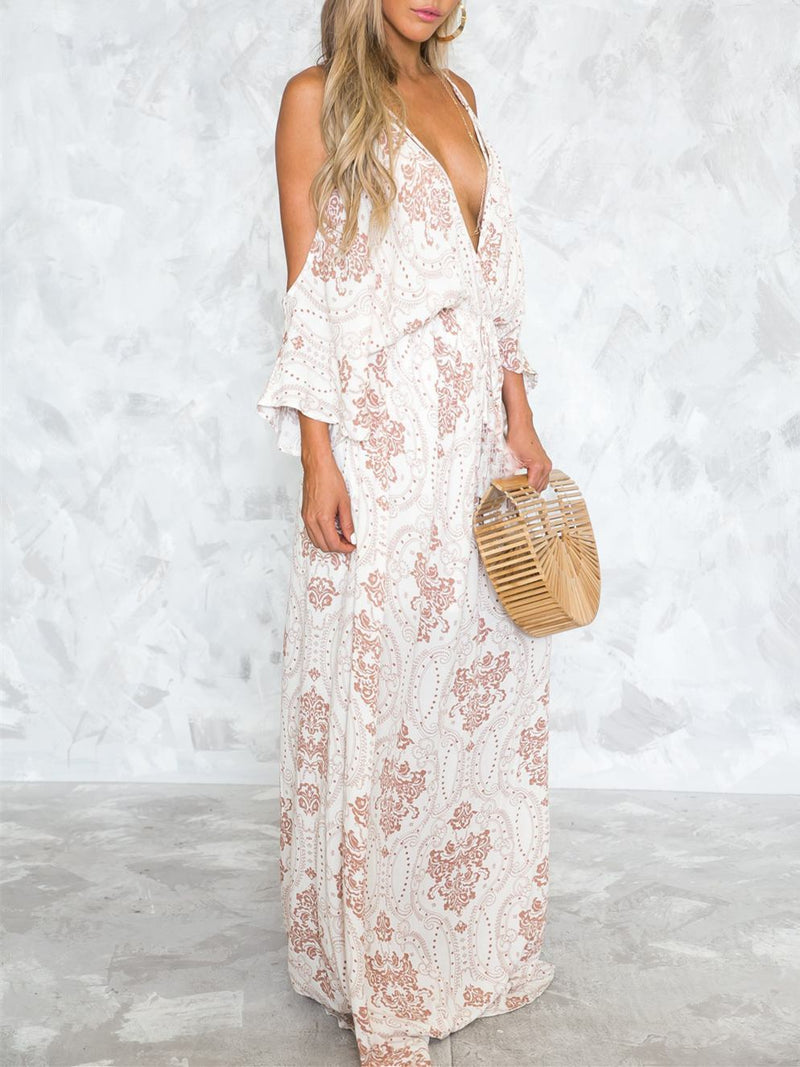Deep V-neck Spaghetti-neck Floor Maxi Dress
