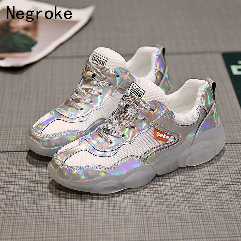 2019 Summer Lace Up Transparent Bottom Platform Casual Shoes Woman Trainers