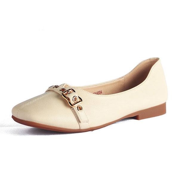 Square head retro single shoes