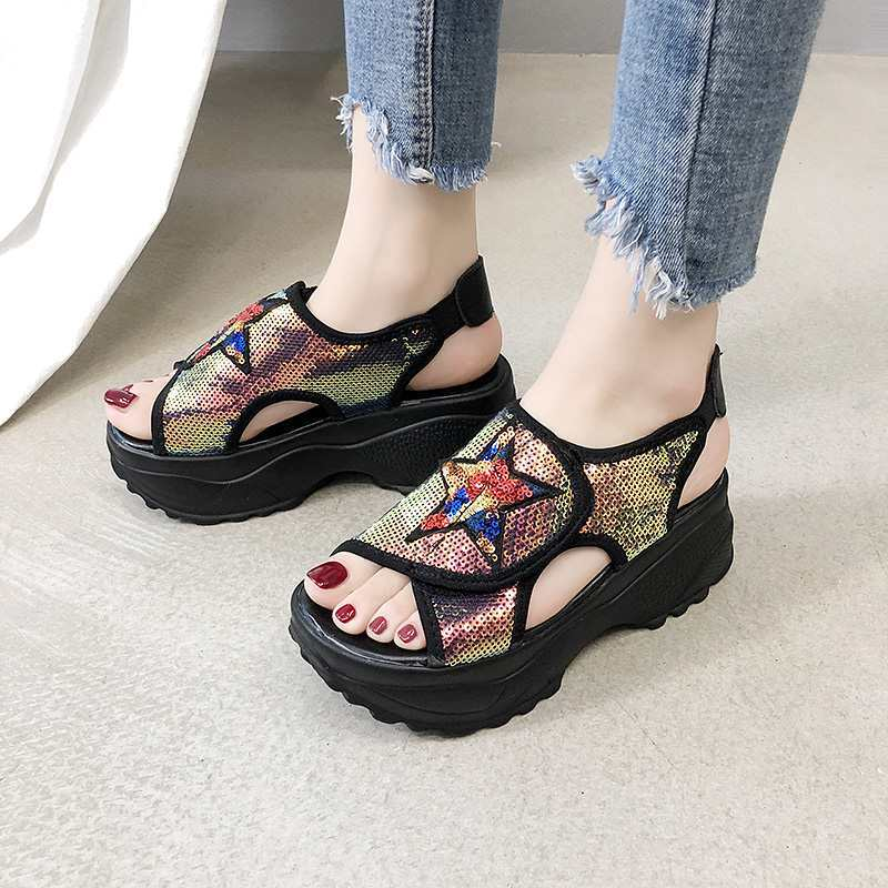 Wedge Sandals Female 2019 New Summer Wild Thick Bottom Beach Shoes