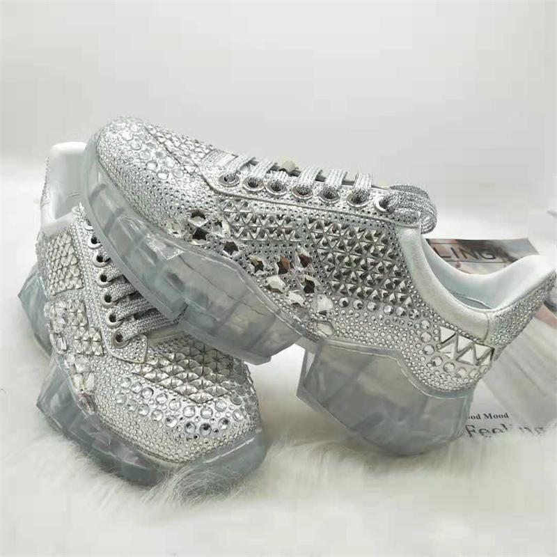 Women's Shoes - 2019 Ladies Fashion Flat Platform Luxury Crystal Sneakers