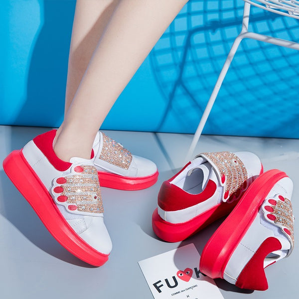 2019 Fashion Bling Vulcanized Shose Mixed Colors Platform Sneakers