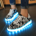 Couples luminous shoes men and women usb charging led shoes sports shoes