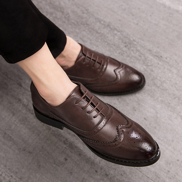 Carved British casual men's shoes