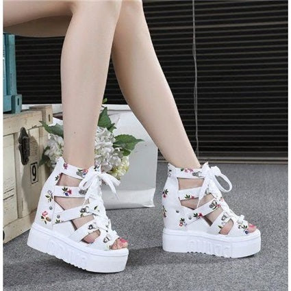 2019 spring and summer floral cross strap high-heeled women's sandals