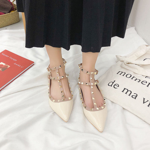 Pointed rivet flat fairy shoes