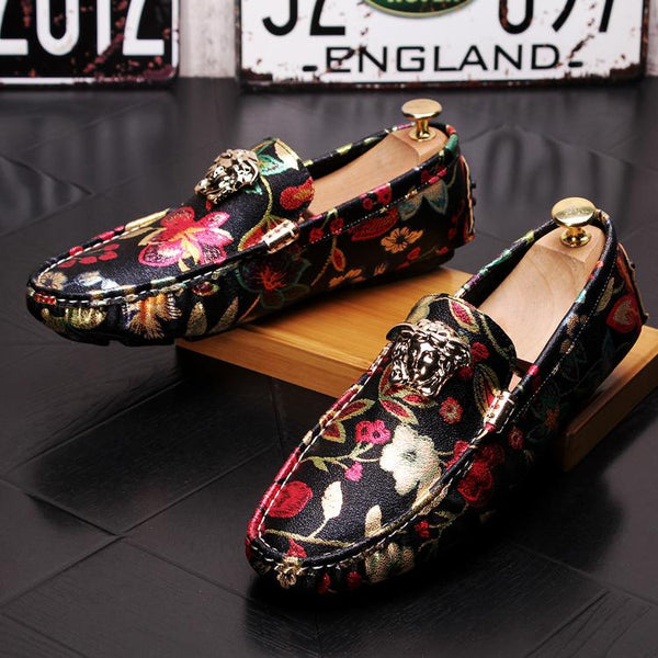 Print Trendy Loafers-A