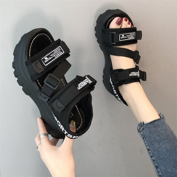 Korean version of the wild thick-soled muffin beach sandals women's sandals