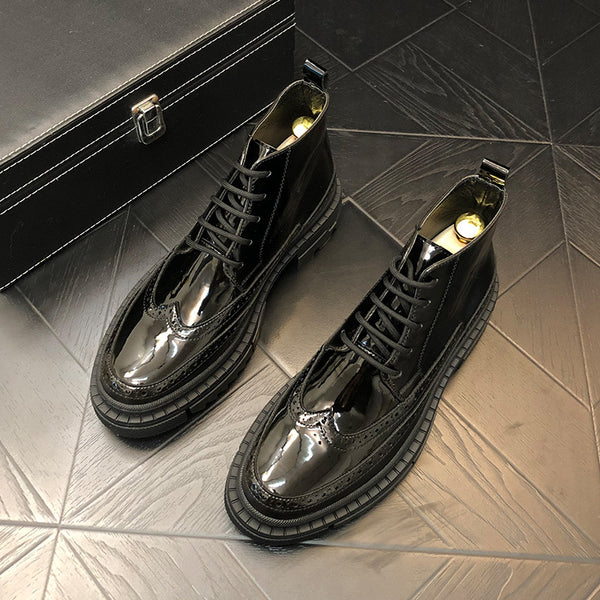 Patent leather sequins men's boots