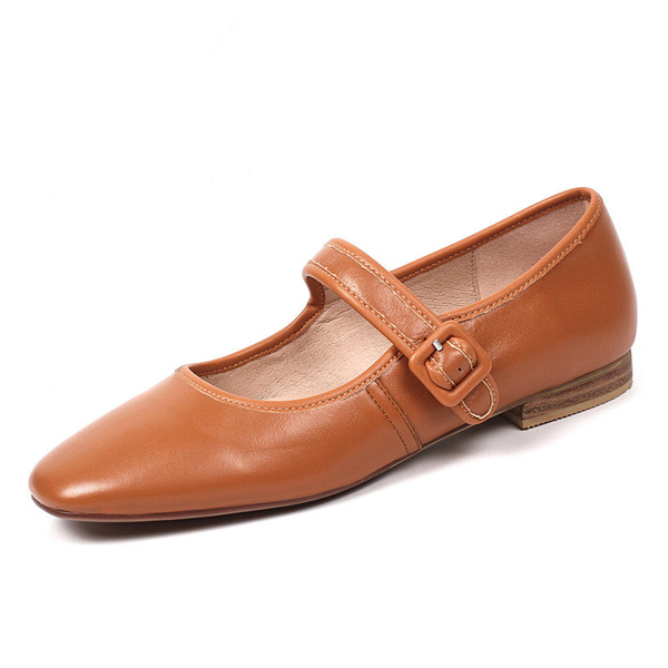 One-button flat soft leather shoes