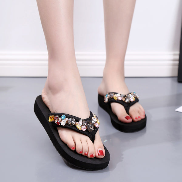 Women's sandals and slippers increase holiday beach shoes platform shoes