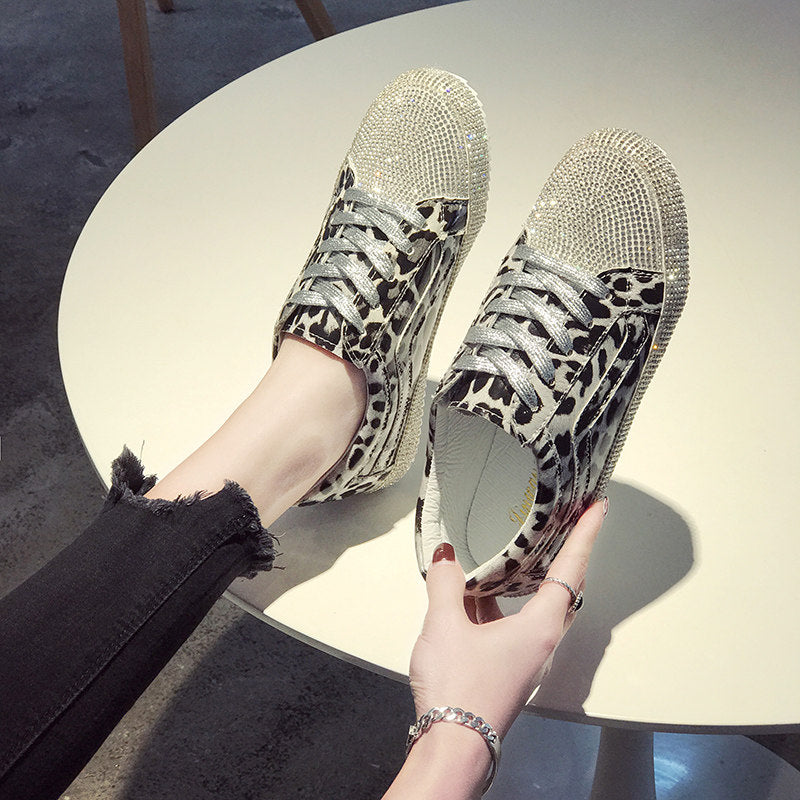 Small white shoes female 2019 spring wild super fire-studded casual shoes