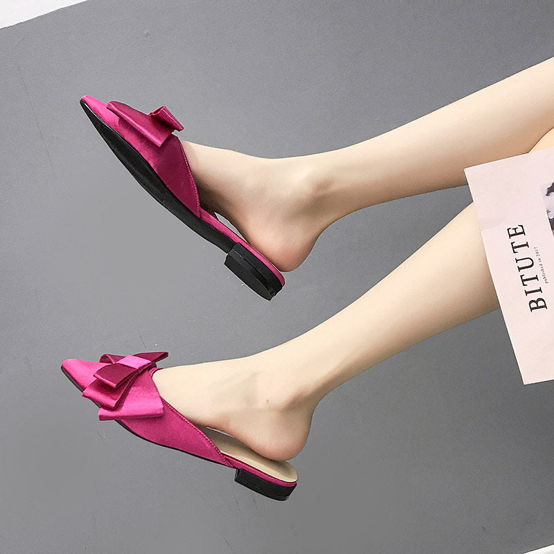 2019 spring and summer women's shoes Korean silk satin Pointed bow tie slippers Baotou flat heel sets semi slippers