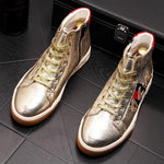 Gold/Silver high-top skateboarding shoes