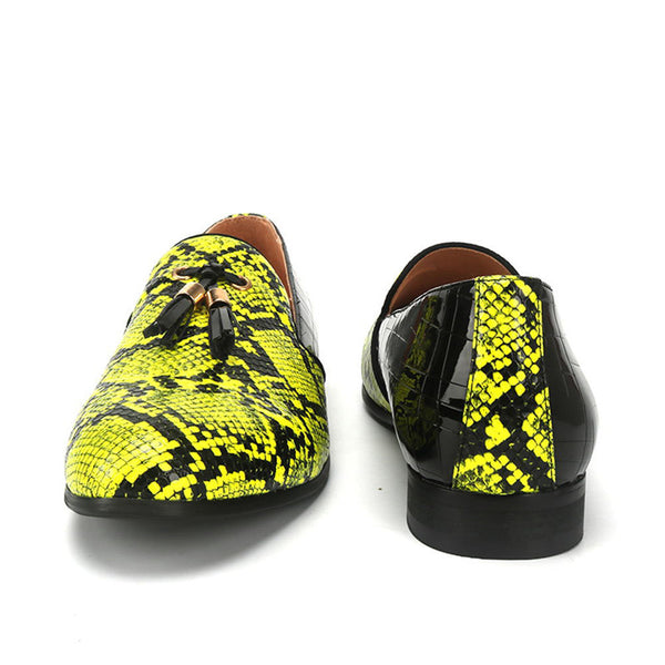 Snake patent leather men's shoes