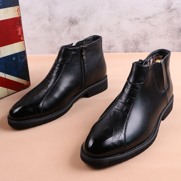 British high-top pointed leather shoes